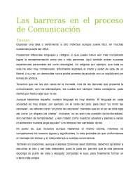 Las barreras en el proceso de comunicación
