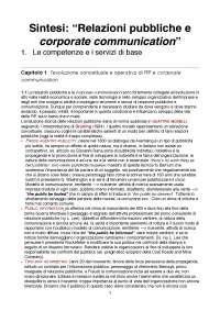 """Sintesi- """"Relazioni pubbliche e corporate communication - 1. le competenze e i servizi di base"""