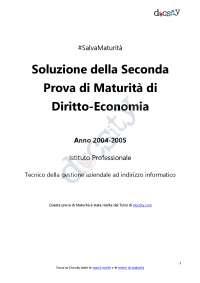Soluzioni della seconda prova di diritto economia - Maturità 2005