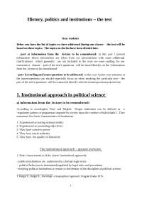 History politics and institutions the exam