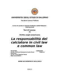 La responsabilità del calciatore in civil law e common law