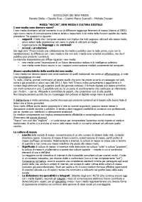 """Riassunto """"Sociologia dei new media"""" di R. Stella, C. Riva, C.M. Scarcelli, M. Drusian"""