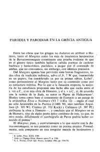 Parodia y parodiar en la grecia antigua pilar gomez