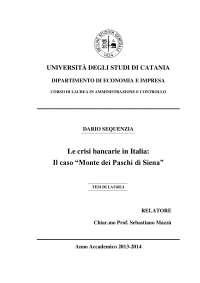Le crisi bancarie in italia, il caso Monte dei Paschi di Siena