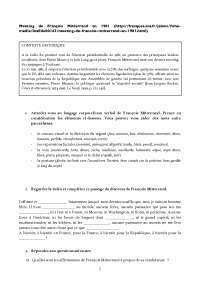 Exercices discours de francois mitterrand