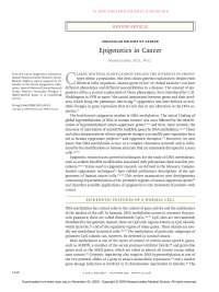 Manel esteller, m.d., ph.d epigenetics in cancer. 358 new england journal of medicine (2008)