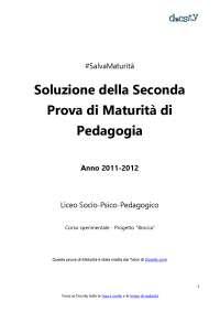 Soluzioni della seconda prova di Pedagogia - Maturità 2012