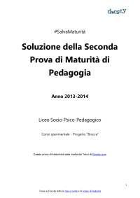 Soluzioni della seconda prova di Pedagogia - Maturità 2014 (progetto Brocca)