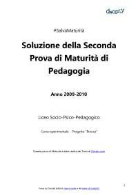 Soluzioni della seconda prova di Pedagogia - Maturità 2010