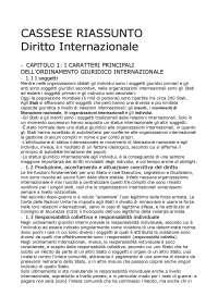 Diritto internazionale Cassese riassunto