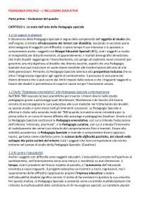 Riassunto Pedagogia Speciale prof Smeriglio, libro consigliato L'inclusione educativa indicazioni pedagogiche per la disabilità, Marisa Pavone