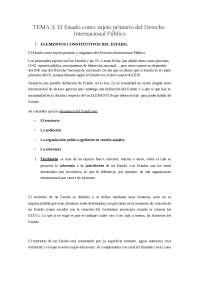 TEMA 3: El Estado como sujeto primario del Derecho Internacional Público