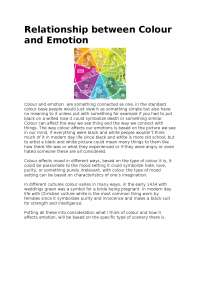 Relationship between colour and emotion