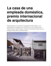 Casa de una empleada domestica, Guías, Proyectos, Investigaciones de Arquitectura