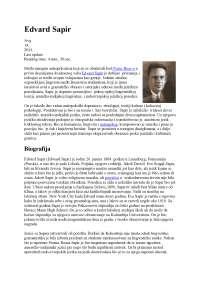 Edward sapir biografija