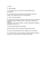 Perguntas a fazer