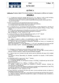 Ejercicios química selectividad 2015 Galicia