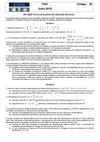 Exámenes selectividad matemáticas aplicadas a las ciencias sociales Galicia