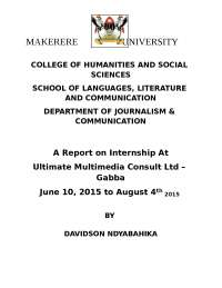 My internship report, Thesis for Community Journalism