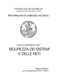 Appunti sicurezza delle reti. Sicurezza infotmatica. Milano
