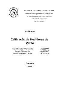 Relatório 3 calibração de medidores de vazão