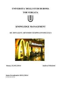 Mcdonald's binomio tempo conoscenza