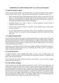 Domande storia della lingua italiana