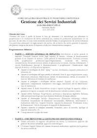 Corso gestione dei servizi industriali 2015