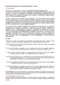 """Riassunto  """"METODOLOGIE INFORMATICHE E DISCIPLINE UMANISTICHE"""" di F.Tomasi"""