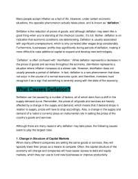 Deflation Causes and Effects - Economics - Lecture Notes