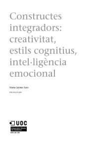 Constructes integradors: creativitat, estils cognitius, intel·ligència emocional