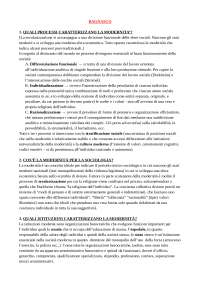 Sintesi per Esame di Sociologia dei processi culturali (unimi) Prof. Roberta Sassatelli