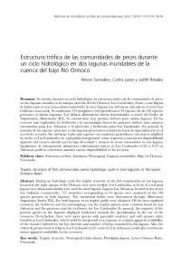 Estructura trófica de las comunidades de peces lagunas bajo orinoco