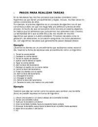 Pasos para realizar tareas (alg0ritmos)
