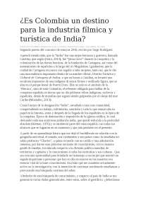 Es colombia un destino para la industria fílmica y turística de india