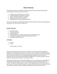 Role of Internet - Computer Fundamentals - Lecture Handout