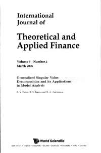Generalized Singular Value Decomposition and its Applications in Model Analysis