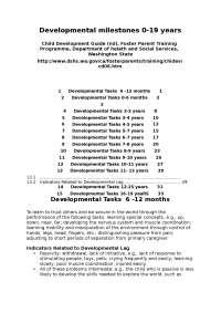 5) developmental milestones 0 19 years