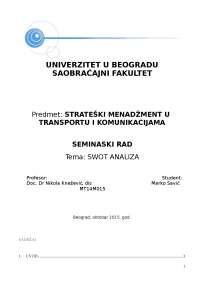 Seminarski rad swot analiza, Završni rad' predlog Strategisjki menadžment