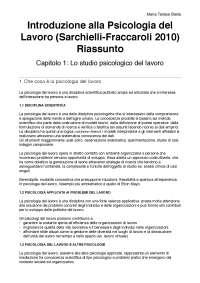 """Riassunto """"Introduzione alla Psicologia del Lavoro"""" di Fraccaroli e Sarchielli"""