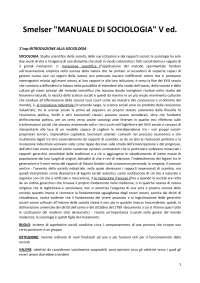 riassunto SMELSER MANUALE DI SOCIOLOGIA 5a edizione