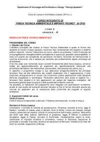 Programma Prof. Sciurpi, Fisica Ambientale