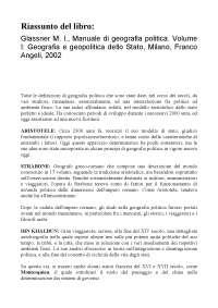 Riassunto completo Glassner M. I., Manuale di geografia politica. Volume I: Geografia e geopolitica dello Stato, Milano, Franco Angeli, 2002