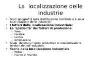 La localizzazione dell'industria