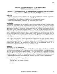 Control lab report experiment no. 01