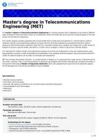 Master's degree in telecommunications engineering (met) (etsetb)