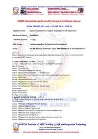 sdlinc trained ndt level ii pt mt rt ut stndtm Quality Management Core Tools Training  chennai