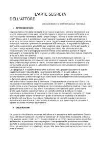 L'Arte segreta dell'attore, un dizionario di antropologia teatrale - E. Barba, N. Savarese