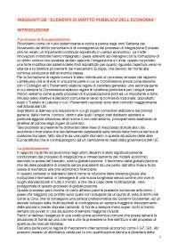 RIASSUNTI E APPUNTI Elementi di diritto pubblico dell'economia, a cura di M. Pellegrini