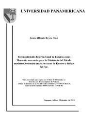 Reconocimiento Internacional como Elemento Necesario para la Existencia del Estado Moderno, Tesis de Derecho Internacional